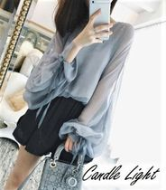 Chiffon U-Neck Long Sleeves Plain Office Style Cardigans