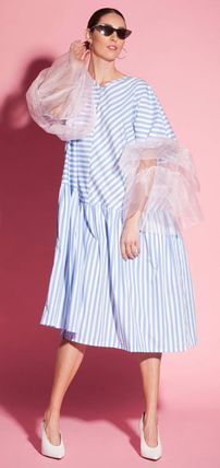 Stripes Blended Fabrics Puffed Sleeves Flared V-Neck Medium