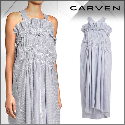 Stripes Casual Style Cotton Dresses