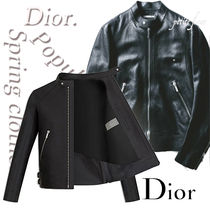 DIOR HOMME Short Street Style Plain Leather Biker Jackets