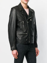 Saint Laurent 18SS SL GRAINED LEATHER MOTORCYCLE JACKET WITH MEDALLION