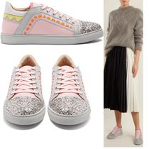 SOPHIA WEBSTER Round Toe Rubber Sole Lace-up Casual Style Plain Leather