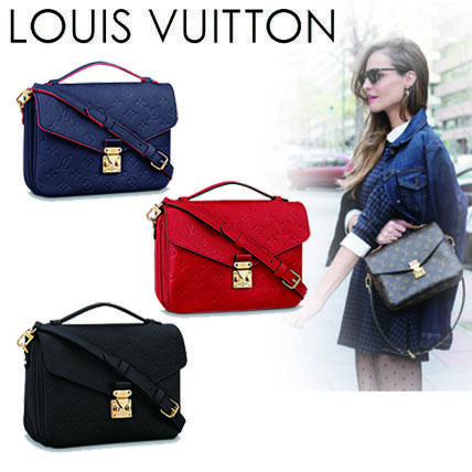 Louis Vuitton Shoulder Bags Monogram 2WAY Plain Leather Elegant Style Shoulder Bags