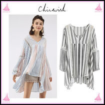 Chicwish Stripes V-Neck Cotton Medium Puff Sleeves Tunics