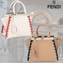 FENDI 3JOURS Calfskin 2WAY Plain Elegant Style Handbags