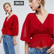 ASOS Short Casual Style Plain Short Sleeves Shirts & Blouses