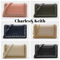 Charles&Keith Faux Fur Chain Plain Party Style Clutches
