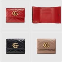GUCCI GG Marmont Plain Leather Folding Wallets