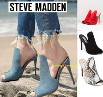 Steve Madden Open Toe Suede Plain Pin Heels Elegant Style Heeled Sandals