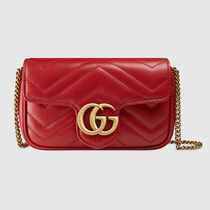 GUCCI GG Marmont Plain Leather Shoulder Bags