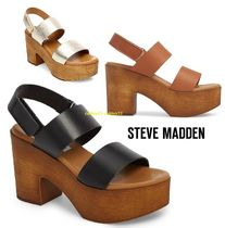 Steve Madden Open Toe Casual Style Street Style Plain Leather