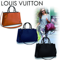 Louis Vuitton EPI A4 2WAY Plain Leather Elegant Style Shoulder Bags
