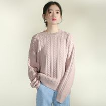 Crew Neck Cable Knit Short Casual Style Long Sleeves Cropped