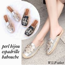 Flower Patterns Platform Plain Toe Casual Style With Jewels