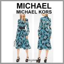 Michael Kors Flower Patterns Chiffon V-Neck Long Sleeves Medium