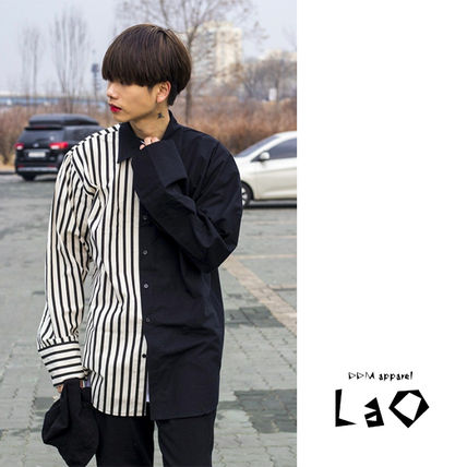 Shirts Stripes Street Style Bi-color Oversized Shirts