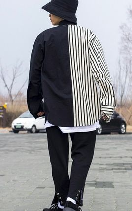 Shirts Stripes Street Style Bi-color Oversized Shirts 2