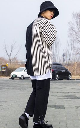 Shirts Stripes Street Style Bi-color Oversized Shirts 3