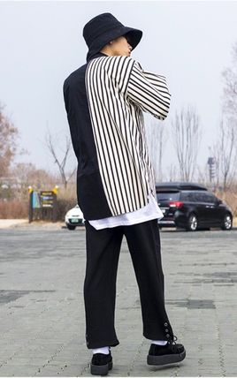 Shirts Stripes Street Style Bi-color Oversized Shirts 4