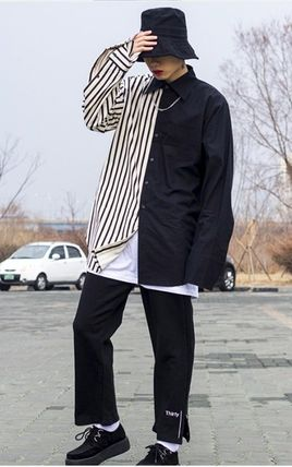 Shirts Stripes Street Style Bi-color Oversized Shirts 5