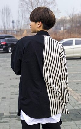 Shirts Stripes Street Style Bi-color Oversized Shirts 7