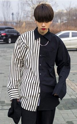 Shirts Stripes Street Style Bi-color Oversized Shirts 8