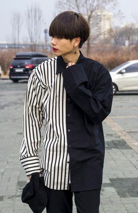 Shirts Stripes Street Style Bi-color Oversized Shirts 9