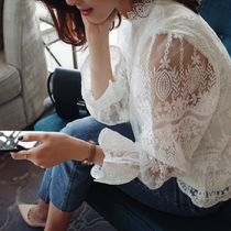 Flower Patterns Lace-up Long Sleeves Lace Elegant Style