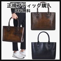 Berluti A4 2WAY Plain Leather Totes