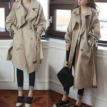 Plain Long Office Style Khaki Trench Coats