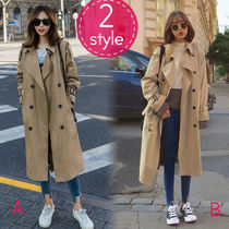 Casual Style Plain Long Khaki Trench Coats