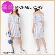 Michael Kors Stripes Casual Style Linen Medium Dresses