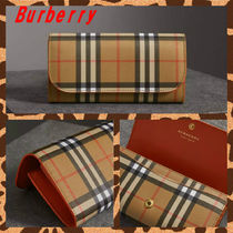 Burberry Other Check Patterns Unisex Calfskin Bi-color Long Wallets