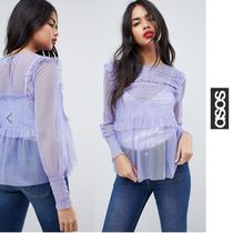 ASOS Long Sleeves Plain Lace Office Style Shirts & Blouses