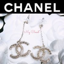 CHANEL ICON Costume Jewelry Blended Fabrics Silver With Jewels