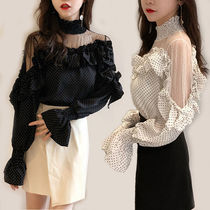Dots Casual Style Long Sleeves Medium High-Neck