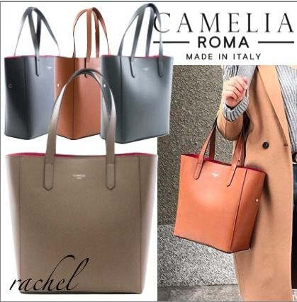 A4 2WAY Plain Leather Office Style Handbags