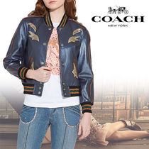 Coach Short Casual Style Bi-color Leather Varsity Jackets