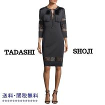 TADASHI SHOJI Tight Long Sleeves Plain Medium Fringes Dresses