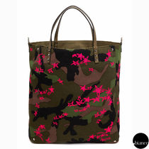 VALENTINO Star Camouflage Unisex Canvas Studded Street Style A4 2WAY