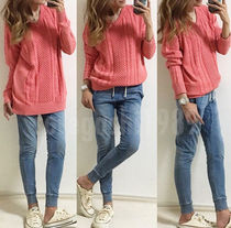 Cable Knit Casual Style Unisex Street Style Long Sleeves