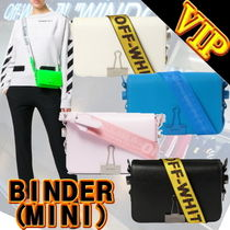 Off-White BINDER CLIP Casual Style Calfskin 3WAY Plain Shoulder Bags