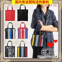 BALENCIAGA BAZAR Stripes Casual Style Leather Totes