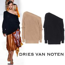 Dries Van Noten Casual Style Long Sleeves Plain Cotton Oversized Sweaters