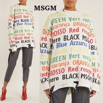 MSGM Crew Neck Rib Cotton Medium Super-long Sleeves Sweaters