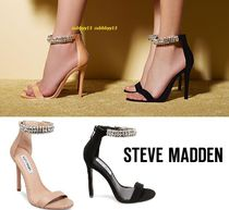 Steve Madden Open Toe Blended Fabrics Plain Leather Pin Heels