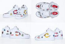 Supreme Street Style Collaboration Plain Leather Sneakers
