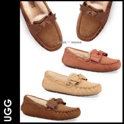 Plain Toe Moccasin Casual Style Street Style Plain Leather