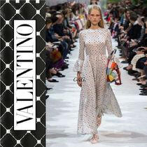VALENTINO Dots Long Sleeves Long Party Style Dresses
