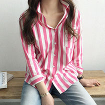 Stripes Casual Style Street Style Long Sleeves Cotton Medium